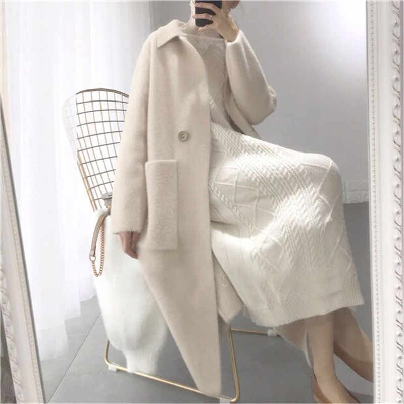 2018 Autumn Winter Women Fashion Loose Casual Oversize Sweaters Beige Cashmere Long Cardigan Jacket Chic Wool Warm Knitted Coats