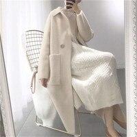 2018 осень зима для женщин модные Свободные Повседневное негабаритных свитеры для бежевый кашемир длинный кардиган куртка Chic шерст
