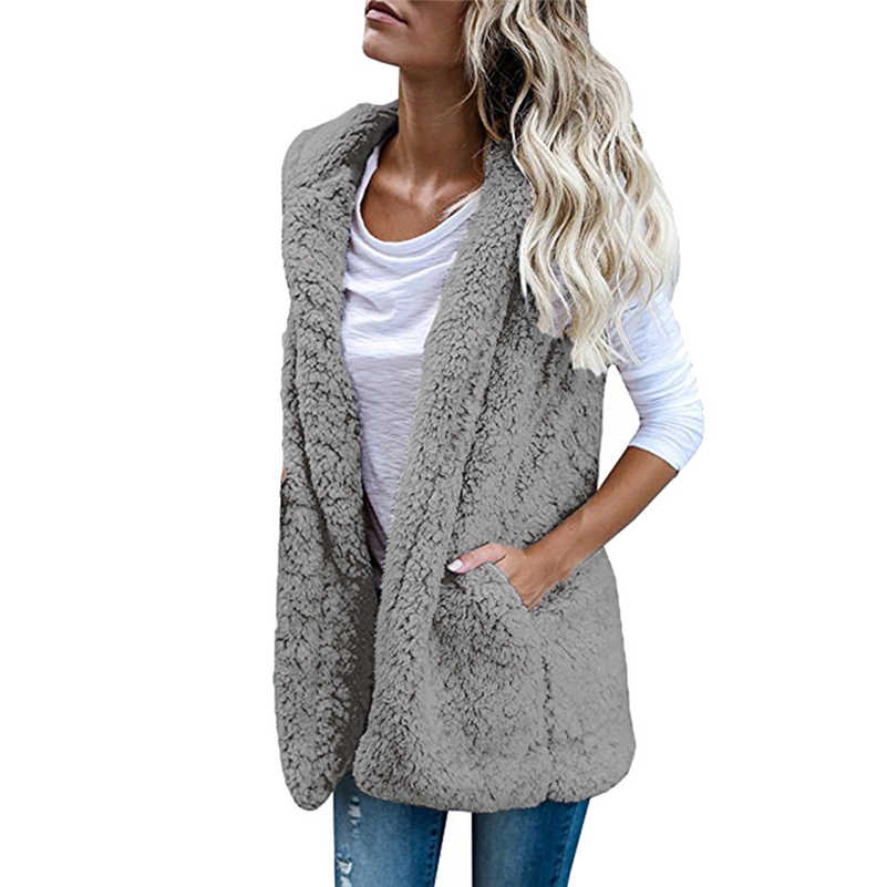 c979c3bc65f56 ... Sexy Womens Vest Winter Warm Hoodie Open Stitch Outwear Casual Cardigan Coat  Faux Fur Zip Up