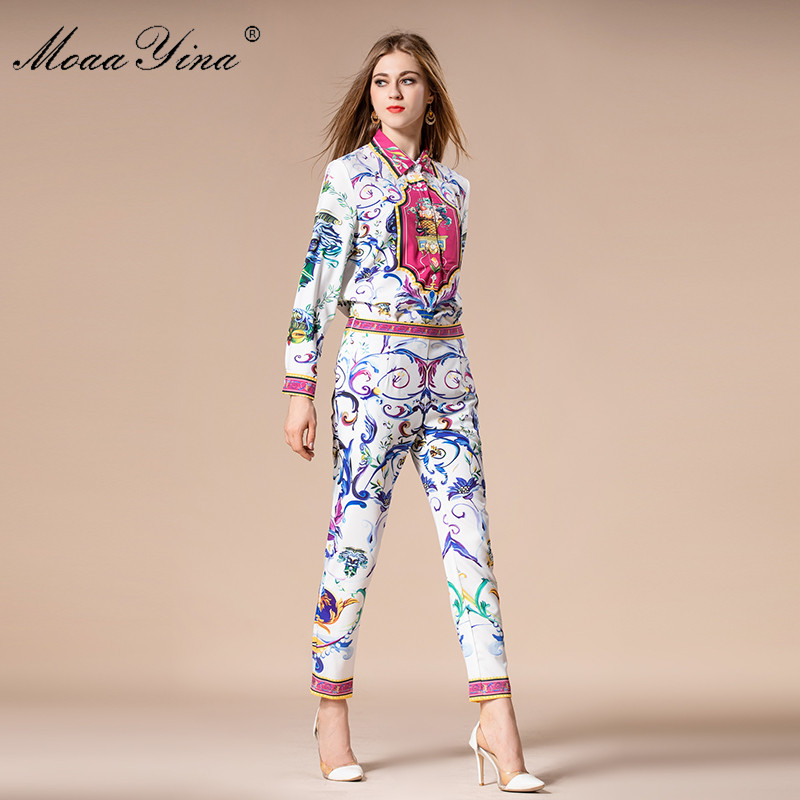 MoaaYina 2018 Fashion Designer Set Autumn Women Turn-down Collar Floral Print loveliness Elegant Tops+Trousers Two-piece suit