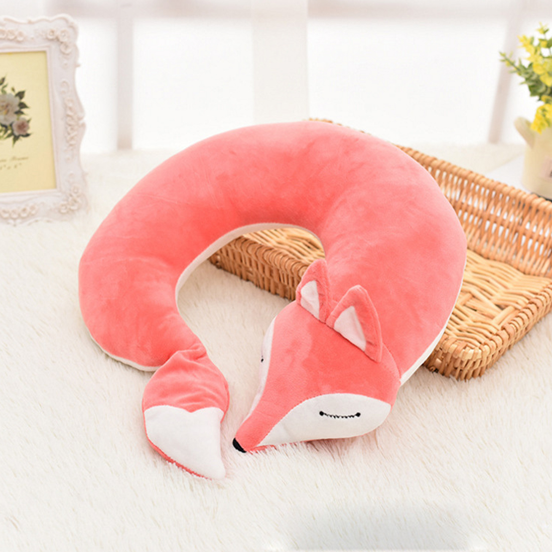 30*30*8CM Cute Fox Animal Cotton U Shaped Travel Pillow Nanoparticles Neck Car Pillows Soft Cushion Nap Pillow For Health Care title=