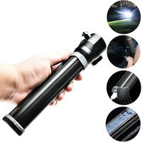 Multifunction Solar Flashlight USB Charging Flashlights T6 Outdoor Torch Lamp Emergency Car Escape Window Safety Hammer Cutter