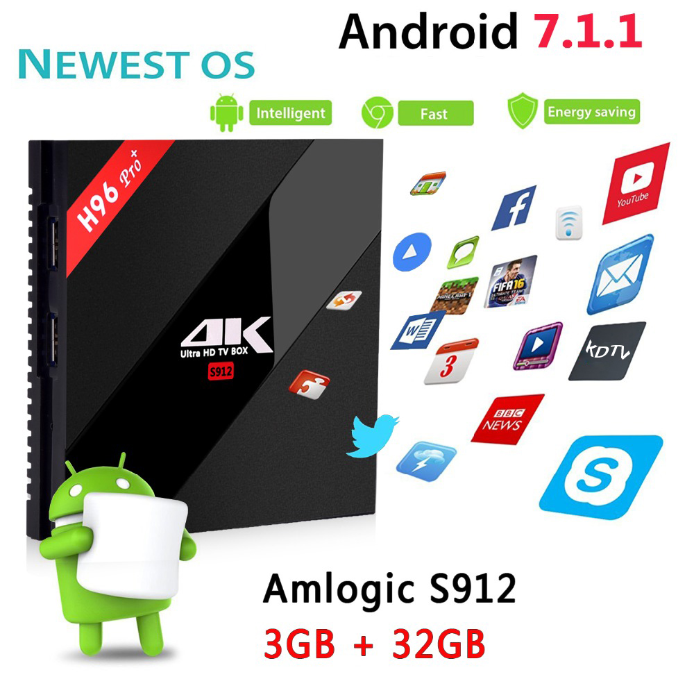 S912 H96 PRO + Plus Caixa Smart TV Amlogic Octa GPU Mali-T820MP3 2g/g 3 16g/ 32g Android 7.1 2.4g/5.8 ghz Wifi Bluetooth Set Top Box