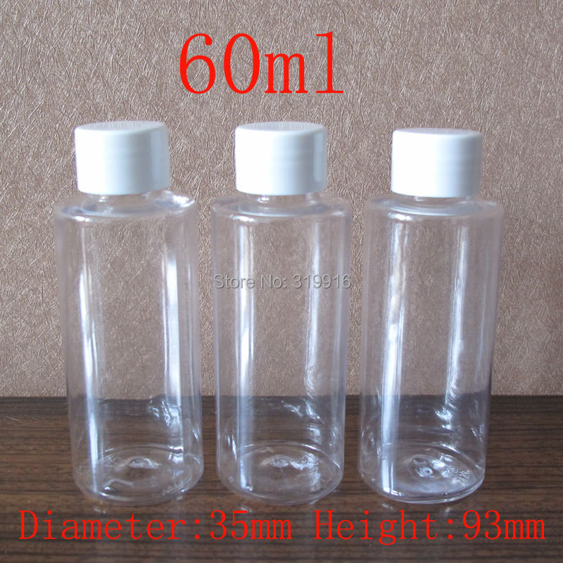60ml 100pc lot transparent round cosmetic plastic bottle 2oz travel kit bottles shower gel container 60cc