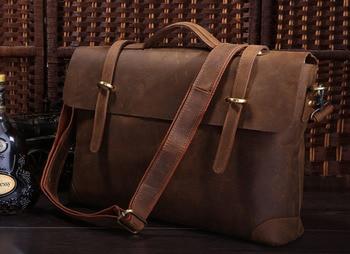 New Arrival Hot Sale Genuine Cow Leather Men's Briefcase Laptop bag Handbag Messenger Bag 7082R
