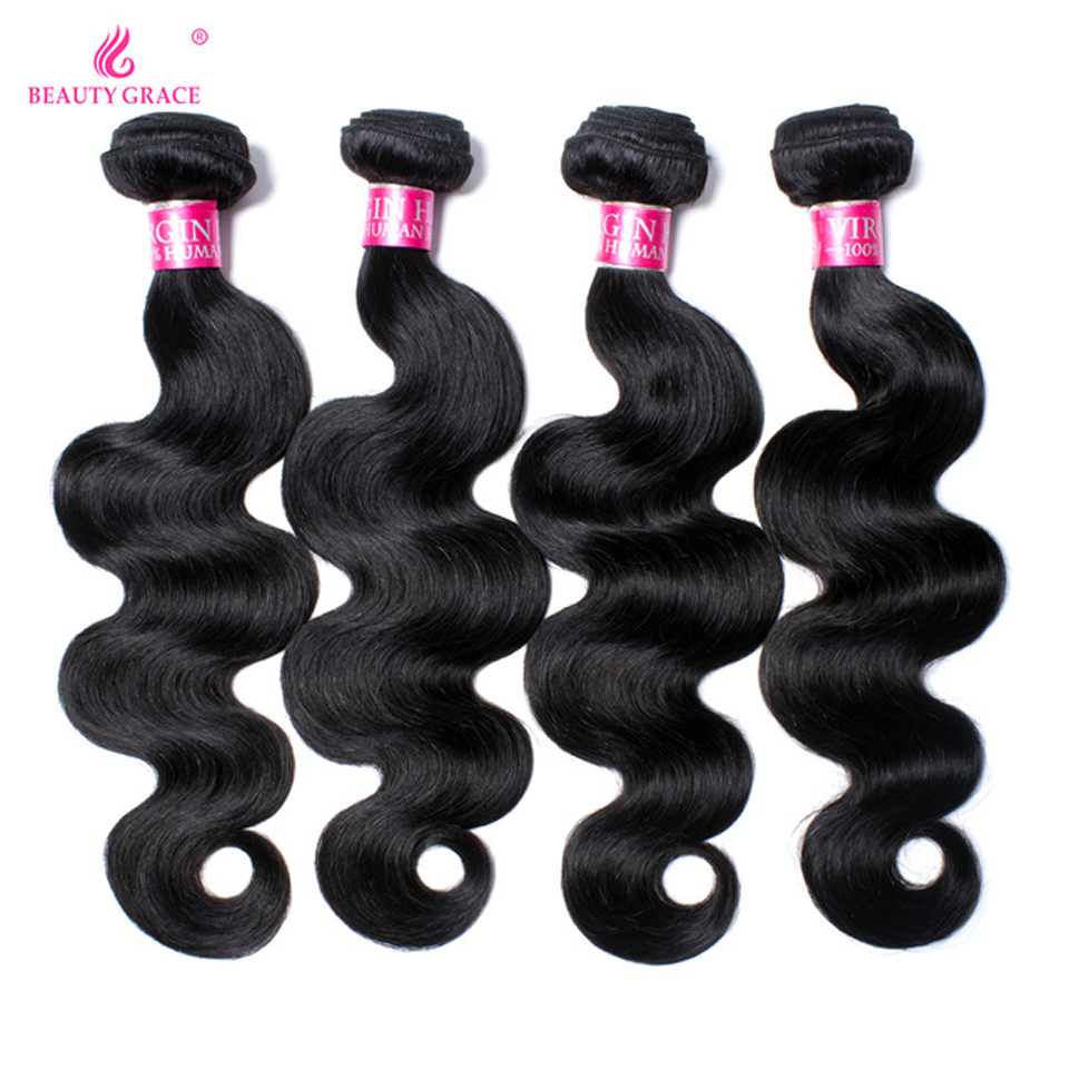 Beauty Grace 4 Bundles Deals Brasiliana Body Wave Doppia trama - Capelli umani (neri)