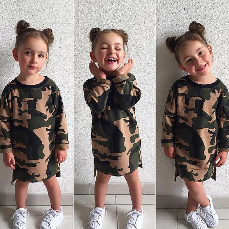 Girls long Style T-shirt 2017 Autumn children Girl Army Camouflage loose casual dresses Kids Sweatshirts Straight Dress