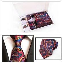 Мужская жаккардовая Пейсли Цветочная Свадебная деловая Вечеринка Hanky шейный набор зажимов для галстука запонки карманная квадратная Подарочная коробка для носовых платков галстук