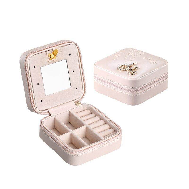 Κορεατική υπόθεση δέρματος κοσμήματος πολύχρωμη PU Nacklace δαχτυλίδι δώρου κοσμήματος κουτί με καθρέφτη θήκη αποθήκευσης διαμαντιών 1 κομμάτι δωρεάν αποστολής