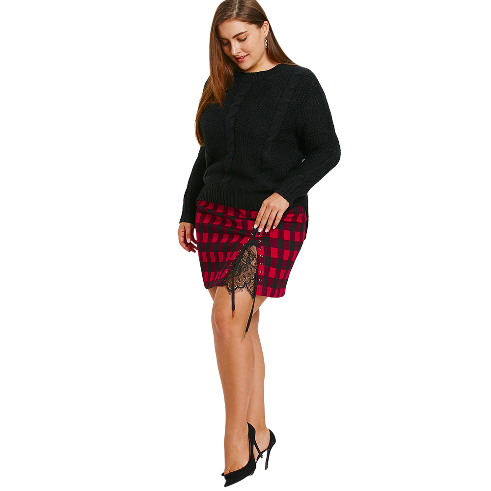 5e4438f8b Plus Size Tartan Plaid Skirt