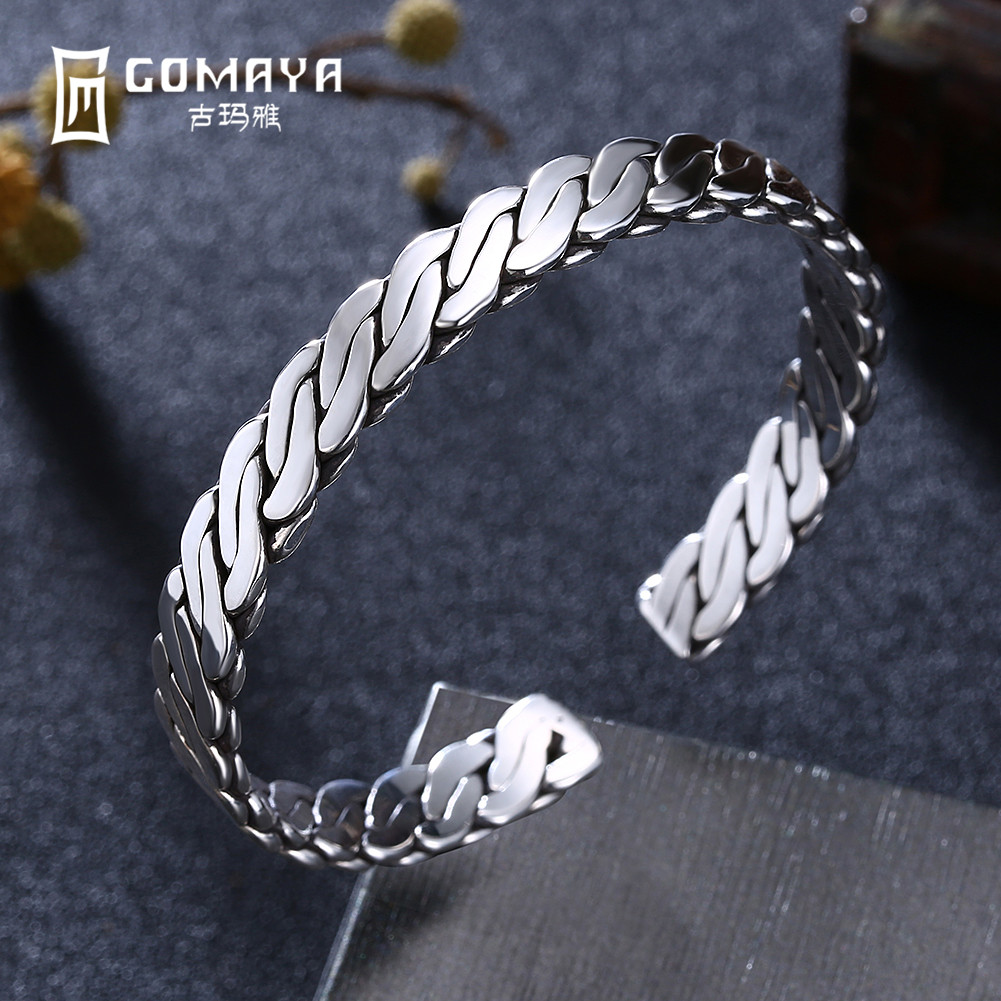GOMAYA 999 Sterling Silver Simple Design Bracelets Bangles for Women Fine Jewelry Gift Adjustable Open Cuff Bracelets gold open cuff bracelets for women bijoux jewelry