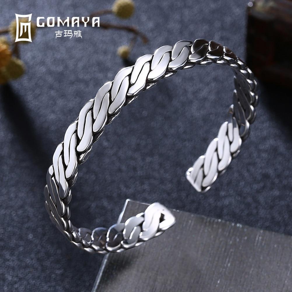 GOMAYA 999 Sterling Silver Simple Design Bracelets Bangles for Women Fine Jewelry Gift Adjustable Open Cuff Bracelets
