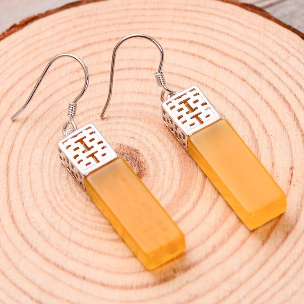 MetJakt Natural Yellow Chalcedony Drop Earrings & Double Happiness Earrings Solid 925 Sterling Silver Earring for Women Jewelry цена и фото