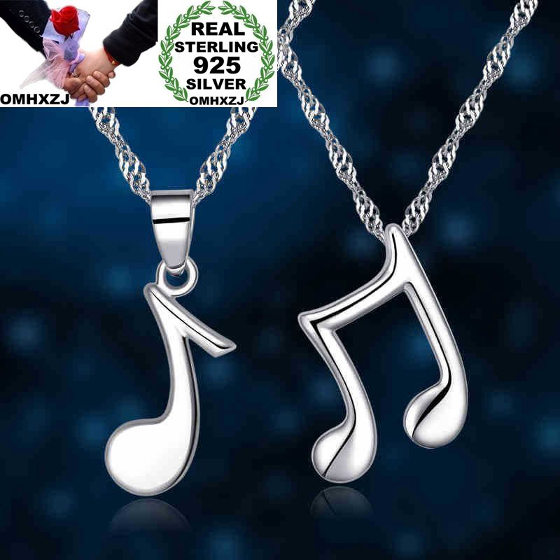 OMHXZJ Wholesale European Fashion Woman Man Party Wedding Gift Muisc Sign 925 Sterling Silver Necklace Pendant Charm <font><b>CA110</b></font> image