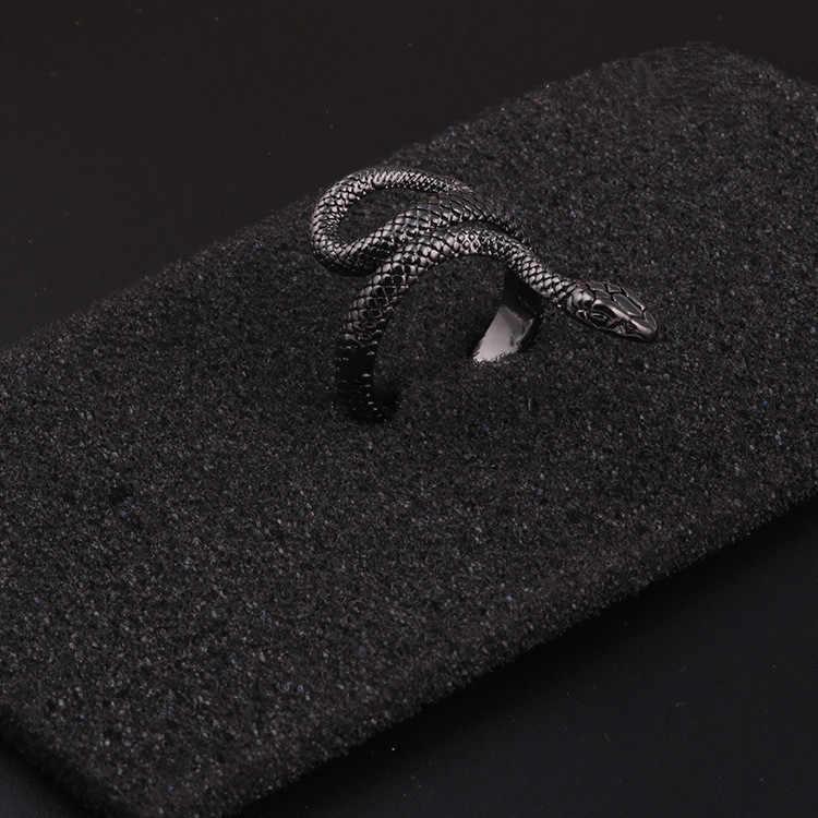 Модное кольцо в стиле панк с животными, готическое черное серебряное металлическое кольцо в виде змеи, мужские Регулируемые кольца унисекс, ювелирные изделия, дропшиппинг