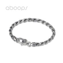 Vintage 925 Sterling Silver Rope Chain Bracelet for Men Boys 4 mm 18 20 cm Free Shipping
