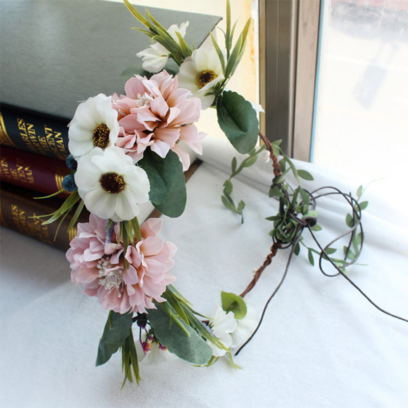 Hair Accessories For Bride Colorful Flower Wreath Wedding Tiaras Crown Floral Garland Women Headband Hairpieces Jewelry ML