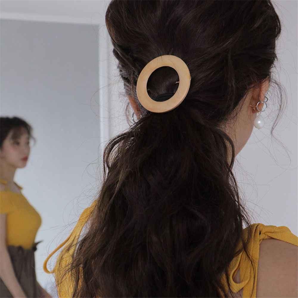 1 قطعة كوريا الأزياء المطاط مرونة الشعر العصابات الهندسة جولة البيضاوي الجوف خمر خشبية الشعر حبل المرأة إكسسوارات الشعر