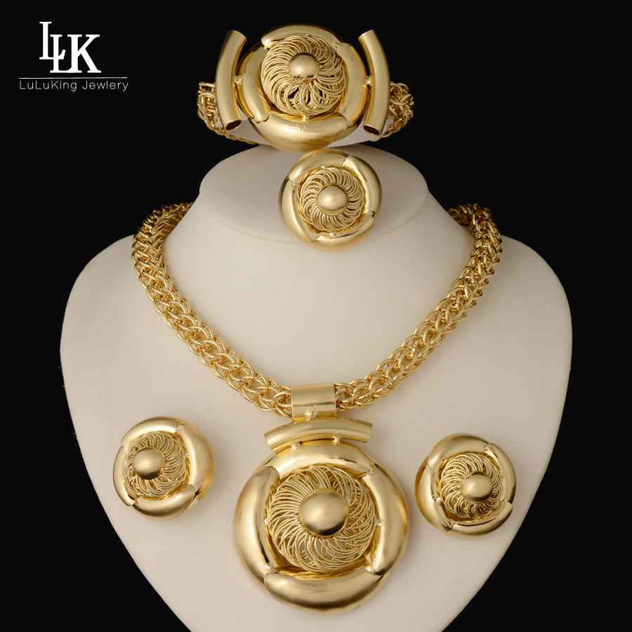 2016 New Fashion Jewelry Sets Big Folwer Pendant Necklace Earrings Bracelet Dubai Gold Plated African Costume