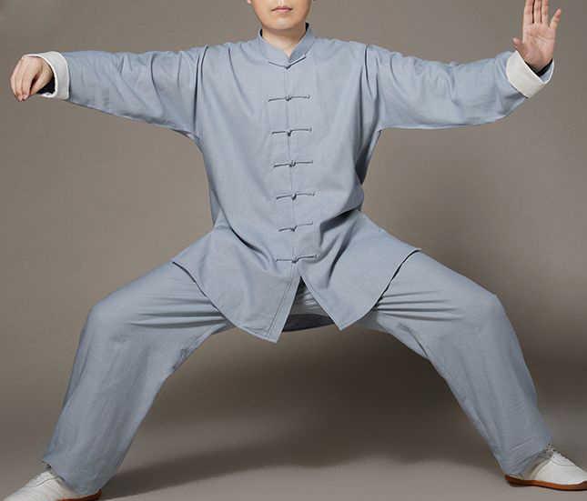 ユニセックスリネン/亜麻カンフースーツ太極拳均一太地服武術パフォーマンス詠春拳武道の制服