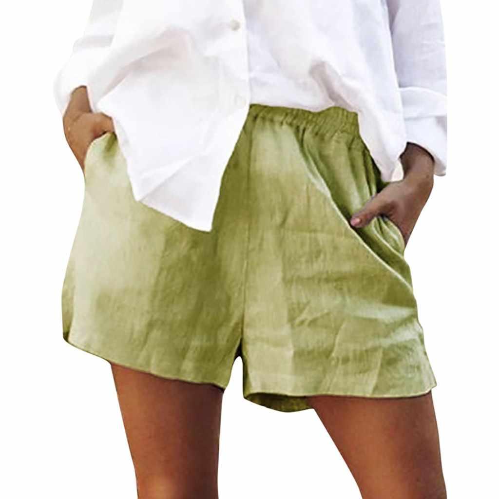 Hohe Taille Jean Shorts Frauen Solide Baumwolle Flachs Elastische Kurze Lose Sport Hosen Plus Größe Shorts шорты женские # GH