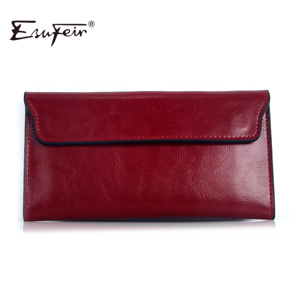 Esufeir 2017 genuine leather women wallet long purse vintage solid cowhide multiple...