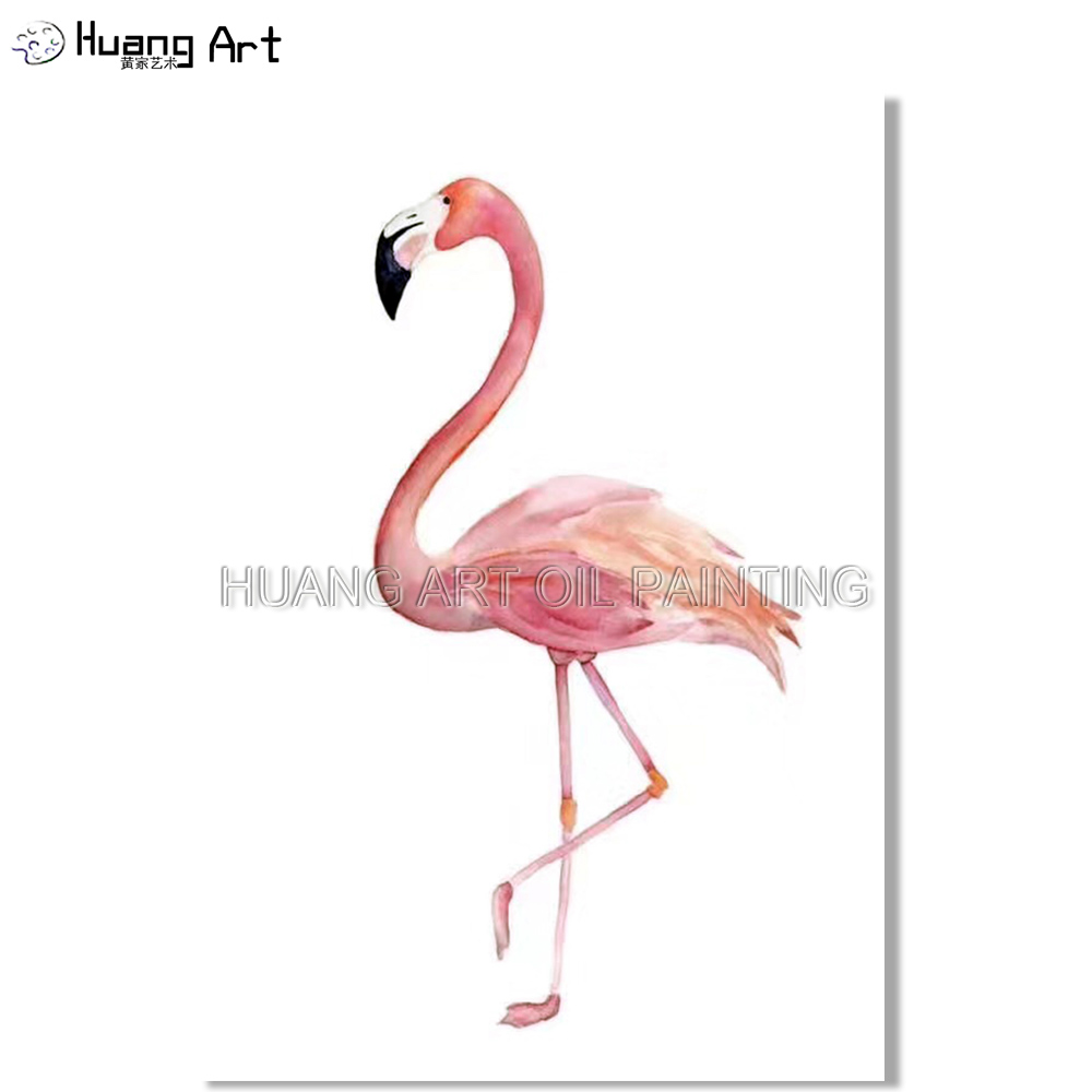 Peinture à l'huile rose flamant rose moderne de haute qualité sur toile peinture décorative animale colorée pour chambre