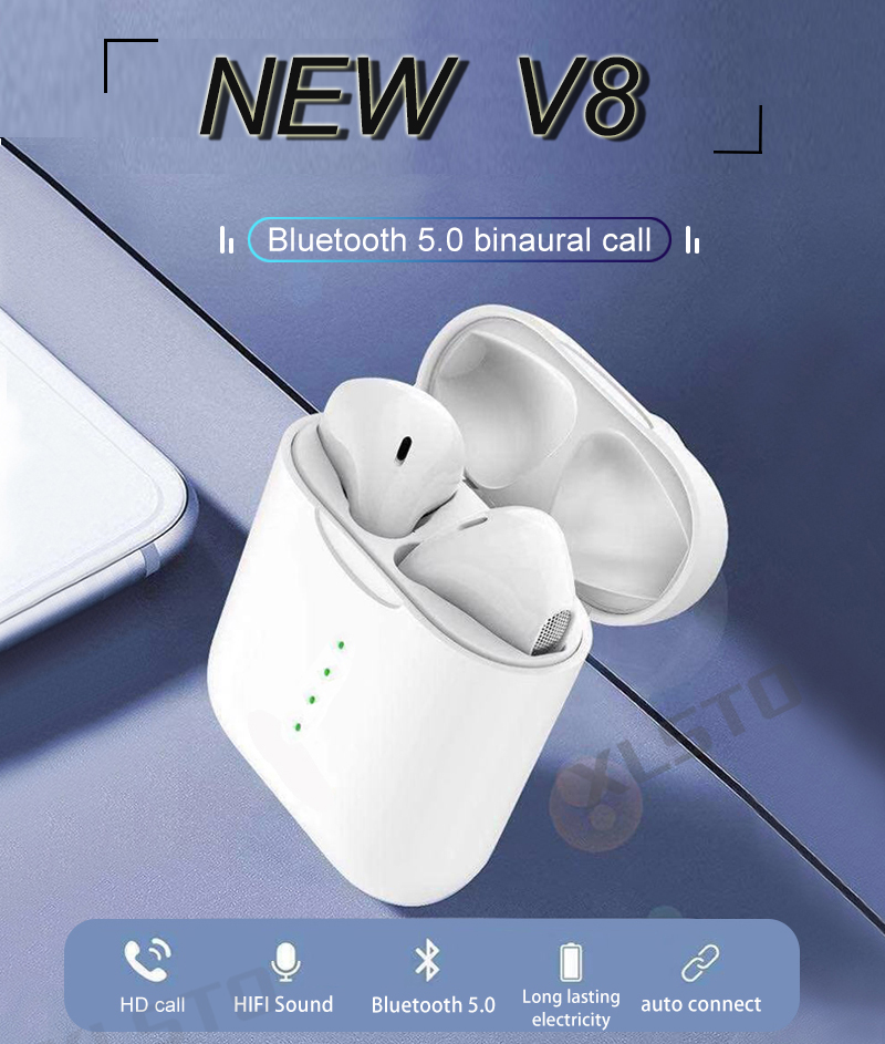 2019 Newest V8 TWS Bluetooth Headset With Pop-ups Window Wireless Bluetooth 5.0 Touch Earphones PK i10 i12 Earphones For iPhone (1)