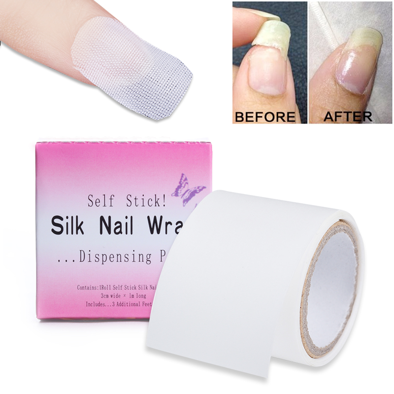 3 * 100см шыны талшықты тінтуір Nail Art Reinforce Silk White Self Adhesive Sticker Nail Protector УК губерния акрилді Nail Art Құралдар