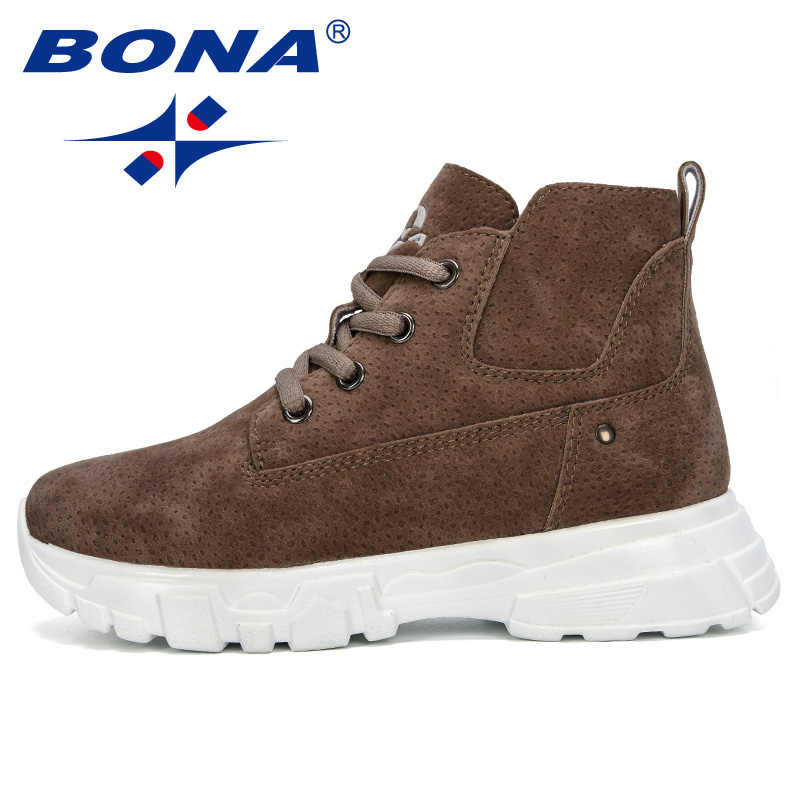 BONA 2019 nuevo diseñador niños de felpa caliente botas de nieve de invierno niños tobillo cómodo Flock al aire libre zapatos de Montañismo de moda
