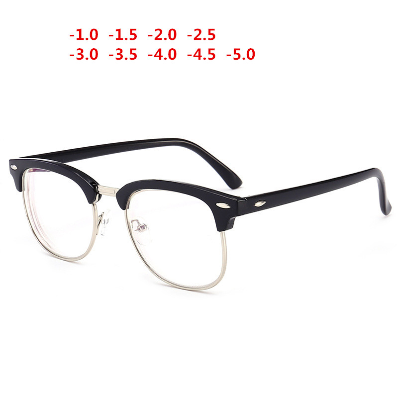 Finished Myopia Eyewear Nearsighted Spectacles Prescription Men's  Women's Transparent  Degree Eyeglasses Frame Degree-1.0~-5.0