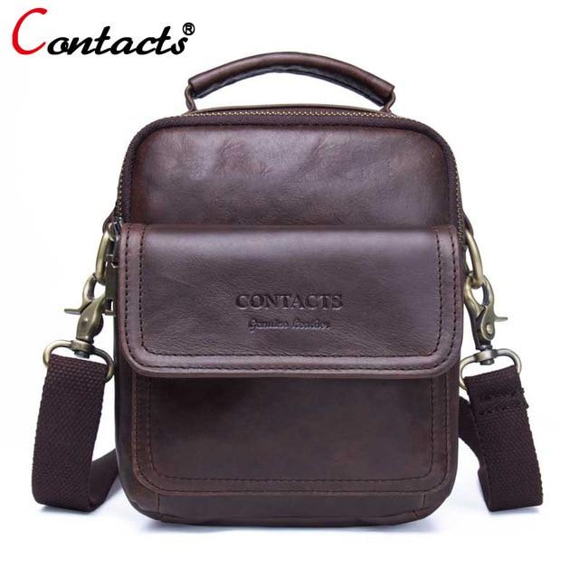 c29ecf6b5 CONTACT'S bolsa masculina de couro legitimo vaca transversal pequena malas  maleta bolsa carteiro de viagem bolsa ...