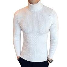 Suéter de cuello alto de algodón para hombre, jersey de invierno con cuello de tortuga, de punto, blanco