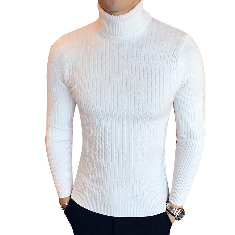 Turtleneck Men Sweater Christmas Cotton Male Sweater Winter Pullover Turtle Neck Men's Jumper White Mens Knitwear Pull Homme(China)