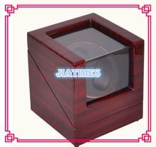 De lujo 2 Reloj Automático Winder Caja De Madera Rojo de la Rosa A Rayas Negro/Interior de Terciopelo Crema Cerradura Bobinadora Reloj de Madera