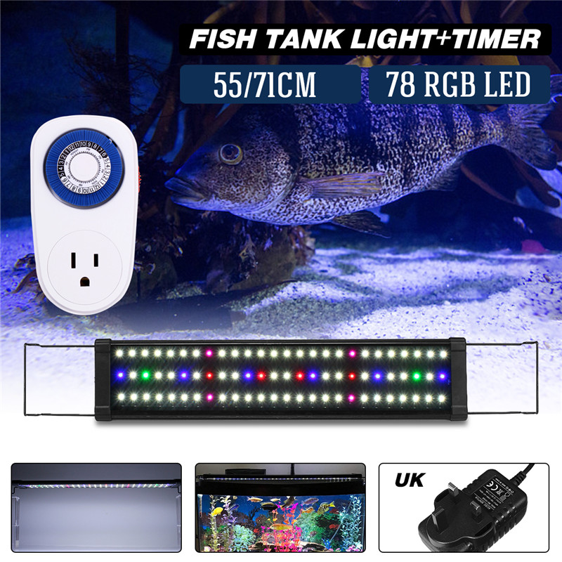 65-70CM Aquarium LED Lighting Aquarium Lamp with Retractable Bracket Light Simple Remote Control Aquarium Fish Tank Water Lamp 15w aquarium clip lamp fish tank light led display intelligent touching control changeable light color temp inductor water plant