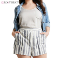 Striped Shorts Women plus Size Summer Casual Loose Drawstring Women Shorts Vintage Large Size Summer Shorts XXXL Fashion New