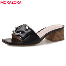 MORAZORA 2019 new arrival women sandals slip on solid colors summer shoes buckle fashion square heels mules shoes woman black morazora large size 34 46 summer shoes buckle solid fashion high heels shoes party pu platform shoes women sandals