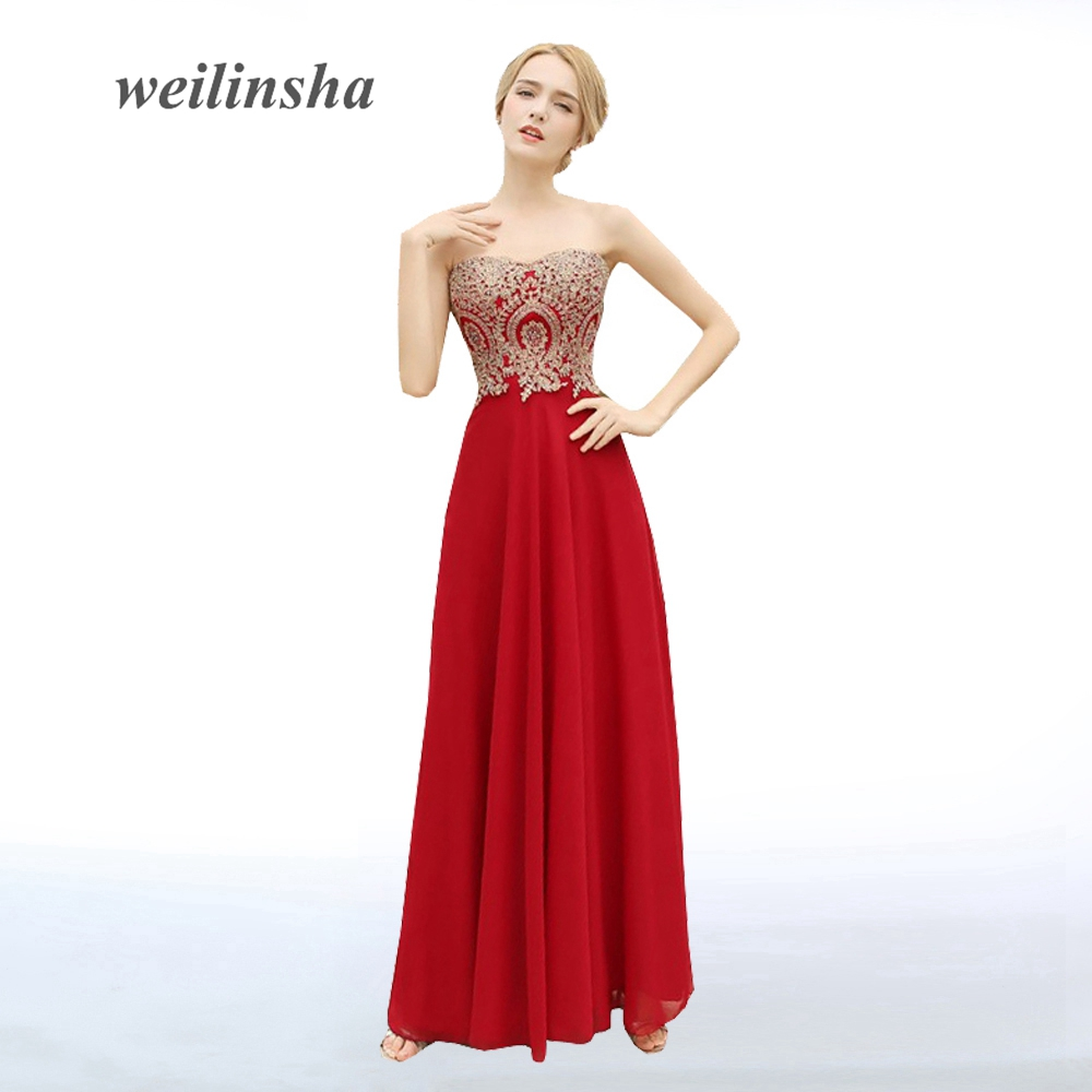 ADLN 2017 New Arrival Red Long Evening Dresses Gold Appliques Sweetheart Chiffon Cheap Party Dress Vestidos de Novia Prom Gowns