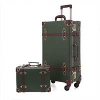 luggage Pu Leather Carry On Luggage Set Vintage Trolley Suitcase Retro Style Travelers Choice Rolling Trunk with Spinner Wheels