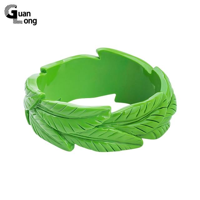 GuanLong Resin Carved Floral Plant Leaf Bangles Fashion Brand Design Bracelet Pu