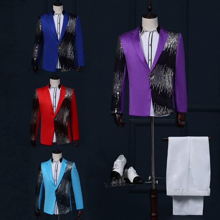 free shipping gold blazer for men 2016stage men suit suit jacket Sequin gradient lightning show host nightclub bar singer jacket