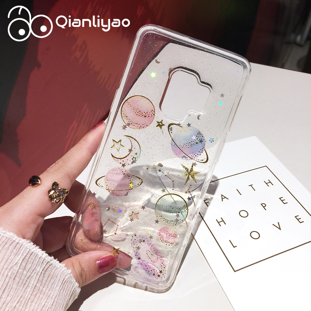 Qianliyao Luxury Glitter Bling Case For Samsung S20 S10 S9 S8 Plus S7edge Note 8 9 10 Pro Case Cute Starry Sky Moon Stars Cover