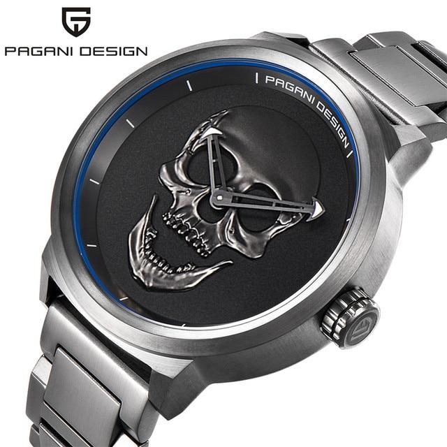 0b2005e3296 Marca de luxo PAGANI PROJETO Homens Crânio Relógios De Quartzo Aviador  Steampunk 3D 3ATM Relógio Banda