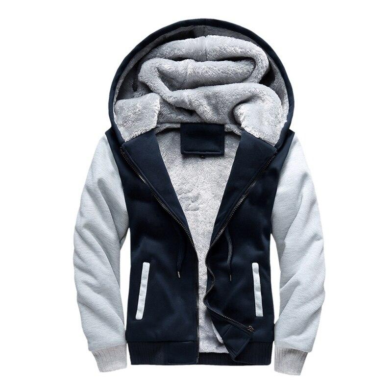 2018 Men Patchwork Zipper Long-sleeve Hooded Hoodies Fashion Men Cotton Plus Velvet Thick Warm Large Size Hooded Hoodies Newest