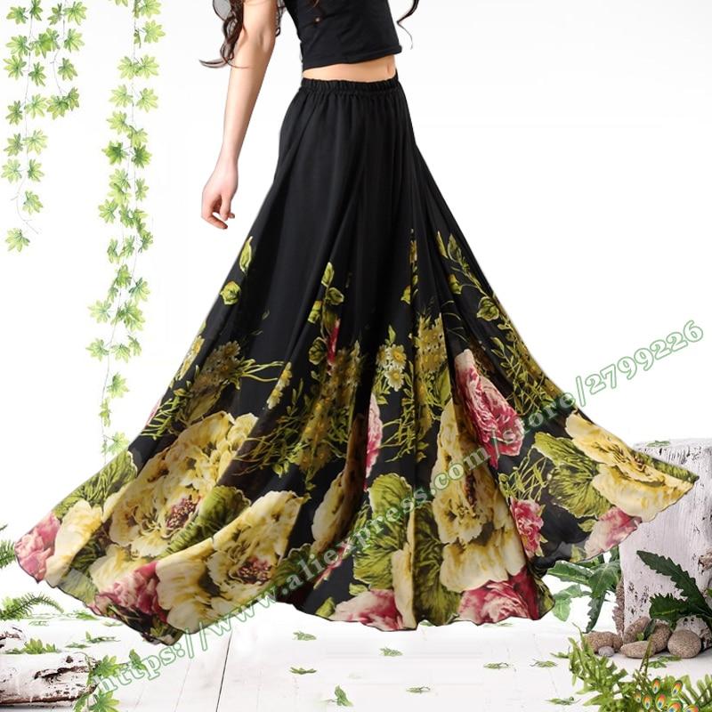 2019 Fashion Summer Large Plus Size 6XL 7XL Vintage Casual Black Printing Chiffon Big Flower Female Maxi  Ladies Skirt Womens