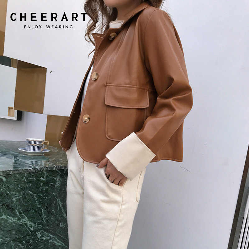 Cheerart Biker Jacket Brown Leather Jacket Women Autumn 2018 Black Coat Pu Moto Faux Leather Motorcycle Jacket Fashion