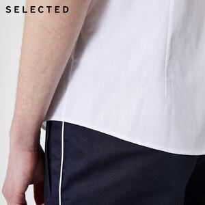Image 4 - Selecionado masculino 100% algodão listrado na moda casual magro ajuste camisas de manga curta s