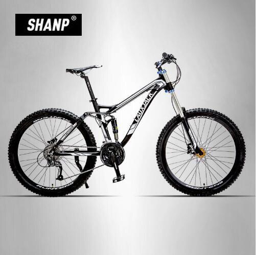 LAUXJACK Mountain Bike Full Suspension Aluminum Frame 24/27 Speed Hydraulic/Mechanic Brake 26