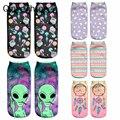 2018 Новое поступление для женщин Low Cut лодыжки носки для девочек Забавные пришельцы 3D носки с принтом хлопок Чулочные изделия мультфильм печатных - фото